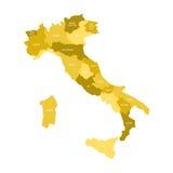 Ο χάρτης της Ιταλίας διαίρεσε σε 20 διοικητικές περιοχές σε τέσσερις σκιές κίτρινου Άσπρες ετικέτες Απλό επίπεδο διάνυσμα απεικόνιση αποθεμάτων