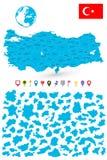 Ο χάρτης της Τουρκίας με το είναι κράτη και επίπεδοι δείκτες χαρτών Στοκ Εικόνες