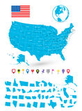 Ο χάρτης των ΗΠΑ με το είναι κράτη και επίπεδοι δείκτες χαρτών Στοκ Εικόνα