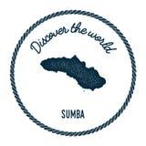 Ο χάρτης Sumba στον τρύγο ανακαλύπτει τα παγκόσμια διακριτικά διανυσματική απεικόνιση