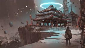 Ο χαμένος ναός στο λόφο διανυσματική απεικόνιση