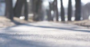 Ο χαμηλός πυροβολισμός γωνίας του πεζοδρομίου στην πόλη στρέφεται την άνοιξη κοντά στη κάμερα Στοκ Εικόνες