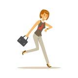 Ο χαμογελώντας νέος χαρακτήρας γυναικών που τρέχει στην εργασία, επιχειρηματίας είναι πρόσφατη διανυσματική απεικόνιση Στοκ φωτογραφία με δικαίωμα ελεύθερης χρήσης