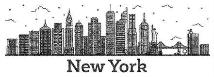 Ο χαραγμένος ορίζοντας πόλεων της Νέας Υόρκης ΗΠΑ με τα σύγχρονα κτήρια απομονώνει διανυσματική απεικόνιση