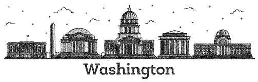 Ο χαραγμένος ορίζοντας πόλεων του Washington DC ΗΠΑ με τα σύγχρονα κτήρια είναι διανυσματική απεικόνιση