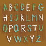 Ο χαρακτήρας αγγλικής γλώσσας αλφάβητου σύρει το διανυσματικό σχέδιο κινούμενων σχεδίων απεικόνιση αποθεμάτων