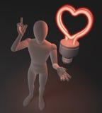 Ο χαρακτήρας, αριθμός, άτομο που έχει μια ιδέα αγάπης απεικονισμένη από την καρδιά διαμόρφωσε το κόκκινο νέο, φθορισμού λάμπα φωτ Στοκ φωτογραφία με δικαίωμα ελεύθερης χρήσης