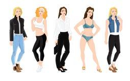 Ο χαρακτήρας γυναικών στα διαφορετικά ενδύματα και θέτει Στοκ Εικόνα