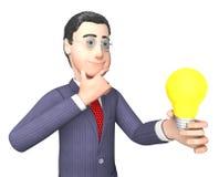 Ο χαρακτήρας επιχειρηματιών παρουσιάζει τη πηγή ισχύος και σκέψεις τρισδιάστατη απόδοση Στοκ εικόνα με δικαίωμα ελεύθερης χρήσης