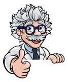 Ο χαρακτήρας κινουμένων σχεδίων επιστημόνων υπογράφει τους αντίχειρες επάνω Στοκ φωτογραφίες με δικαίωμα ελεύθερης χρήσης