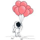 Ο χαριτωμένος αστροναύτης κρατά τα κόκκινα μπαλόνια απεικόνιση αποθεμάτων