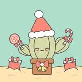 Ο χαριτωμένος κάκτος Χριστουγέννων κινούμενων σχεδίων με παρουσιάζει την αστεία απεικόνιση διακοπών απεικόνιση αποθεμάτων