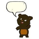 ο χαριτωμένος κυματίζοντας Μαύρος κινούμενων σχεδίων αντέχει teddy με τη λεκτική φυσαλίδα Στοκ Εικόνες