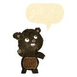 ο χαριτωμένος κυματίζοντας Μαύρος κινούμενων σχεδίων αντέχει teddy με τη λεκτική φυσαλίδα Στοκ φωτογραφία με δικαίωμα ελεύθερης χρήσης
