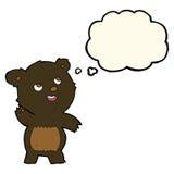 ο χαριτωμένος κυματίζοντας Μαύρος κινούμενων σχεδίων αντέχει teddy με τη σκεπτόμενη φυσαλίδα Στοκ Εικόνες