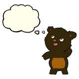 ο χαριτωμένος κυματίζοντας Μαύρος κινούμενων σχεδίων αντέχει teddy με τη σκεπτόμενη φυσαλίδα Στοκ φωτογραφία με δικαίωμα ελεύθερης χρήσης