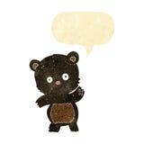 ο χαριτωμένος Μαύρος αντέχει τα κινούμενα σχέδια με τη λεκτική φυσαλίδα Στοκ φωτογραφίες με δικαίωμα ελεύθερης χρήσης