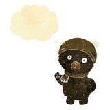 ο χαριτωμένος Μαύρος κινούμενων σχεδίων αντέχει στο χειμερινά καπέλο και το μαντίλι με τη σκέψη bub Στοκ Εικόνες