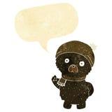 ο χαριτωμένος Μαύρος κινούμενων σχεδίων αντέχει στο χειμερινά καπέλο και το μαντίλι με την ομιλία bubb Στοκ Εικόνες