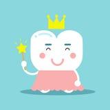 Ο χαριτωμένος χαρακτήρας δοντιών κινούμενων σχεδίων σε ένα ρόδινο φόρεμα και ο χρυσός στέφουν το κράτημα της μαγικής ράβδου, οδον Στοκ Εικόνα