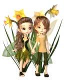 Ο χαριτωμένος Toon Daffodil Fairy Boy και κορίτσι Στοκ φωτογραφία με δικαίωμα ελεύθερης χρήσης