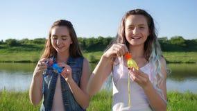 Ο χαρούμενος έφηβος κοριτσιών κάνει τις φυσαλίδες σαπουνιών στη φύση απόθεμα βίντεο