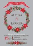 Ο χειμερινός γάμος σώζει την κάρτα ημερομηνίας Στεφάνι Χριστουγέννων Στοκ Φωτογραφία