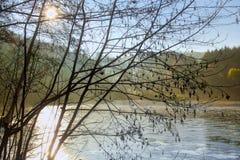 Ο χειμώνας έρχεται: Ήλιος απογεύματος πέρα από τη μικρή παγωμένη λίμνη στο Hesse Γερμανία στοκ εικόνα