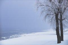 Ο χειμώνας έρχεται από την όχθη ποταμού Στοκ Φωτογραφία