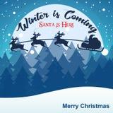 Ο χειμώνας έρχεται και Santa είναι εδώ διανυσματική εικόνα Χριστουγέννων Στοκ φωτογραφίες με δικαίωμα ελεύθερης χρήσης
