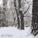 Ο χειμώνας έρχεται μπλε snowflakes ανασκόπησης άσπρος χειμώνας Στοκ Φωτογραφίες