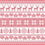 Ο χειμώνας, κόκκινος άνευ ραφής Χριστουγέννων το σχέδιο με τα ελάφια Στοκ Φωτογραφίες