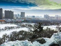 Ο χειμώνας στο Τσανγκ Τσαν είναι ένα ο πιό κρύος στην Κίνα Στοκ Εικόνα