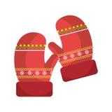 Ο χειμώνας φορά γάντια στο εικονίδιο ενδυμάτων απεικόνιση αποθεμάτων