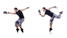 Ο χορευτής που απομονώνεται στο άσπρο υπόβαθρο Στοκ εικόνα με δικαίωμα ελεύθερης χρήσης