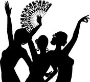 ο χορευτής χορεύει flamenco ανεμιστήρων απεικόνιση ισπανικά κοριτσιών Στοκ Φωτογραφίες