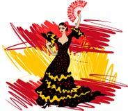 ο χορευτής χορεύει flamenco ανεμιστήρων απεικόνιση ισπανικά κοριτσιών Στοκ Φωτογραφία