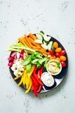 Ο χορτοφάγος τσιμπά το πιάτο - ζωηρόχρωμα λαχανικά και εμβυθίσεις Στοκ Εικόνες