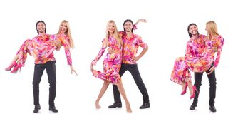 Ο χορός ζευγαριού που απομονώνεται στο λευκό Στοκ φωτογραφία με δικαίωμα ελεύθερης χρήσης