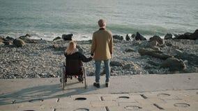 Ο χρήστης γυναικών αναπηρικών καρεκλών και ο υγιής άνδρας κρατούν τα χέρια και προσέχουν seascape απόθεμα βίντεο