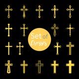 Ο Χριστιανός διασχίζει τα σημάδια στο χρυσό χρώμα ελεύθερη απεικόνιση δικαιώματος