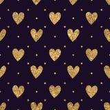 Ο χρυσός ακτινοβολεί άνευ ραφής σχέδιο καρδιών Στοκ φωτογραφία με δικαίωμα ελεύθερης χρήσης