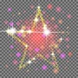 Ο χρυσός ακτινοβολεί αστέρι να αναβοσβήσει τα αστέρια Στοκ Εικόνα