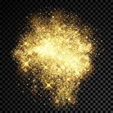 Ο χρυσός ακτινοβολεί επίδραση ψεκασμού των λαμπιρίζοντας μορίων στο διανυσματικό διαφανές υπόβαθρο Στοκ φωτογραφία με δικαίωμα ελεύθερης χρήσης