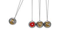 Ο χρυσός ακτινοβολεί κείμενο αγάπης στη μεταλλική ορμή με το ψαλίδισμα της πορείας Στοκ Εικόνα