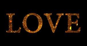 Ο χρυσός ακτινοβολεί μορφή λέξης αγάπης μορίων σπινθηρίσματος στο μαύρο υπόβαθρο, εορταστική αγάπη ημέρας βαλεντίνων διακοπών διανυσματική απεικόνιση