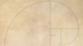 Ο χρυσός αριθμός ακολουθίας του Φιμπονάτσι σε παλαιό χαρτί διανυσματική απεικόνιση