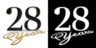 Ο χρυσός αριθμός είκοσι οχτώ αριθμός 28 και τα έτη επιγραφής με την πτώση σκιάζουν και άλφα κανάλι τρισδιάστατη απεικόνιση ελεύθερη απεικόνιση δικαιώματος