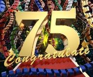 Ο χρυσός αριθμός εβδομήντα fivewith η λέξη συγχαίρει σε ένα υπόβαθρο των ζωηρόχρωμων κορδελλών και του χαιρετισμού τρισδιάστατη α διανυσματική απεικόνιση