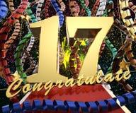 Ο χρυσός αριθμός δεκαεπτά με τη λέξη συγχαίρει σε ένα υπόβαθρο των ζωηρόχρωμων κορδελλών και του χαιρετισμού τρισδιάστατη απεικόν διανυσματική απεικόνιση